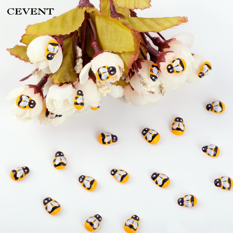 Cevent 100pcs/bag Mini Bee Stickers DIY 3D Wooden Ladybug Stickers Scrapbooking Easter Home Wall Decoration Scrapbooking Craft