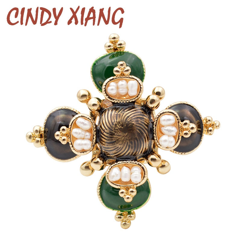 CINDY XIANG Freshwater Pearl Cross Brooches Unisex Baroque Pins Women and Men Jewelry Enamel Broches High Quality Design