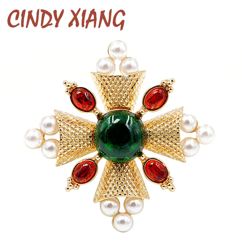 CINDY XIANG  2018 Fashion Pearl Baroque Brooches Pin Cross Brooches for Women Coat Accessories Vintage Jewelry Gift