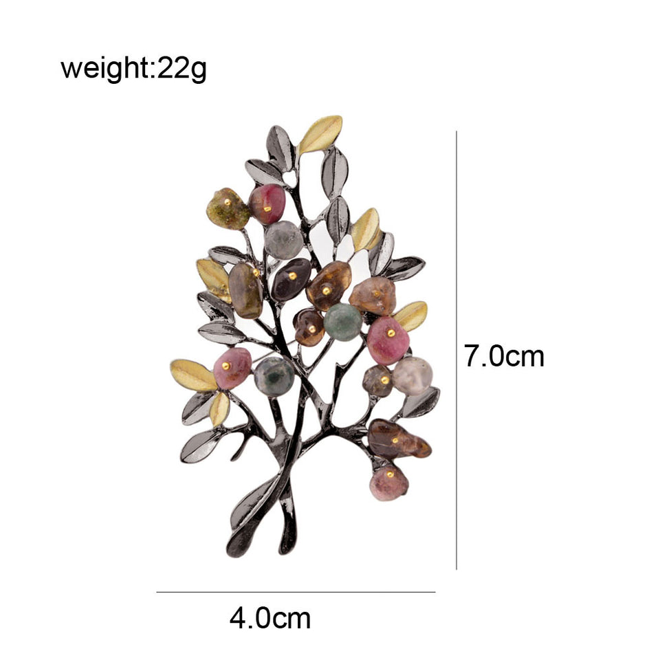CINDY XIANG Vintage Stone Tree Brooches for Women Large Elegant Suit Dress Brooch Pin Fashion Jewelry Party Accessories Gift