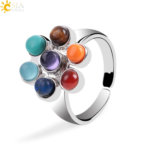 CSJA 1Pc 7 Chakra Rings Reiki Energy Healing Point Stone Beads Adjustable Ring Rainbow Flower Women Finger Ring Jewelry E042