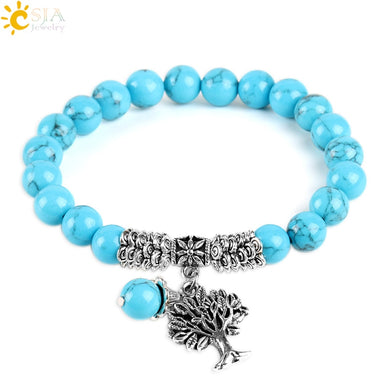 CSJA 8mm Blue Howlite Bracelets Mala Rosary Yoga Bead Vintage Silver Tree of Life Charm Pendants Energy Healing Men Jewelry E741