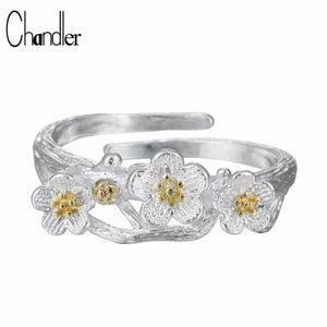 Chandler Fashion Fidget Spinner Female Cherry Flower Rings For Women Christmas Wedding Gift Bagues Strass joyas de acero