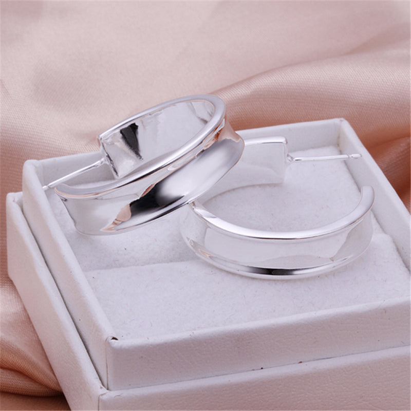 Classic Smooth Top Selling Fashion Jewelry 925 Silver Color Women Hoop Earring Gift
