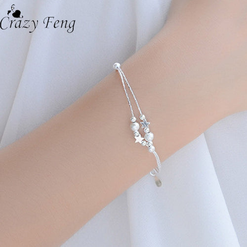 CrazyFeng Elegant Multilayer Star Pendant Bracelet Trendy Silver Color Stainless Steel Bracelets & Bangles Jewelry For Women