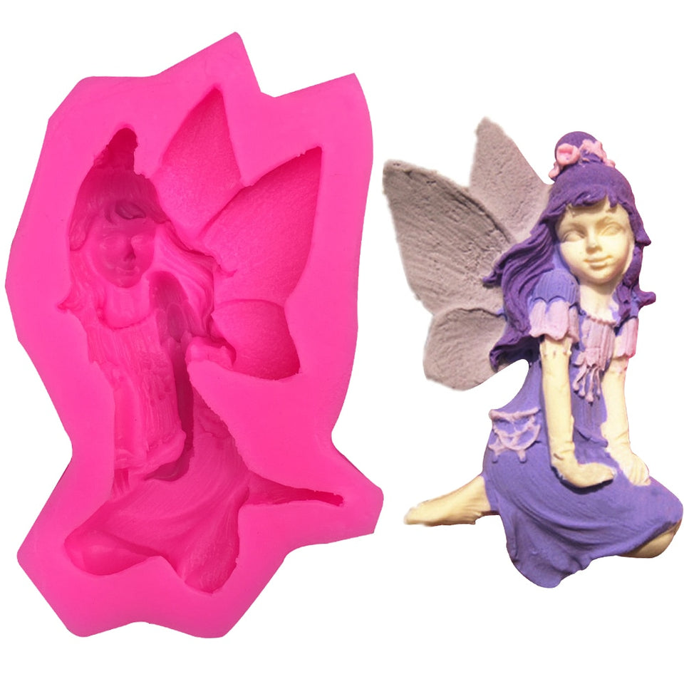 Cute fairy female angel Shape 3D fondant cake silicone mold food grade mastic pastry candy Clay making soap Candle tools F0236