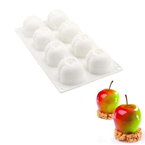 DIY 8 Cavities Apple Shape 3D Silicone Molds For Cake Mousse Pastry Baking Tools Cake Decorating Tools