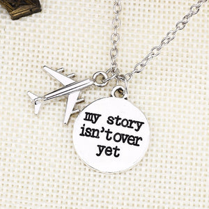 "DIY Air Plane Necklace For Women Letter ""My Story Isn't Over Yet"" Pendant Stainless Steel Chain Pendants&Necklaces"