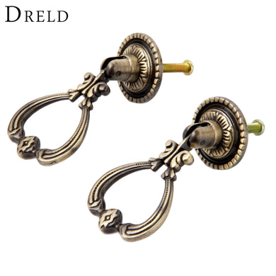 DRELD 2Pcs Antique Brass Furniture Handles Vintage Cabinet Knobs and Handles Door Closet Cabinet Drawer Pull Handle for Kitchen