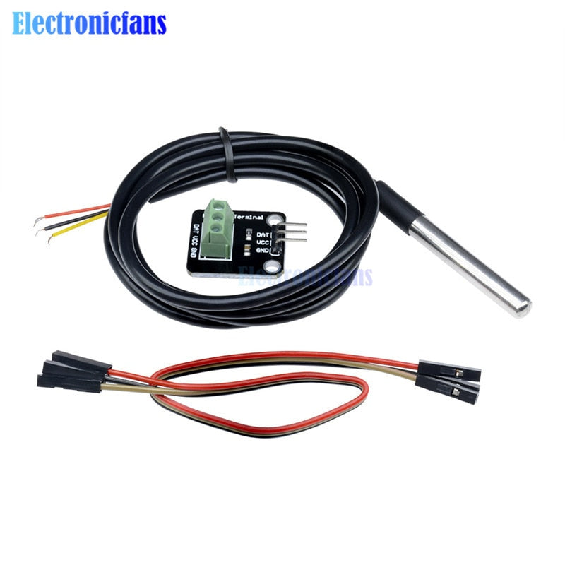 DS18B20 Temperature Sensor Module Kit Waterproof 100CM Digital Sensor Cable Stainless Steel Probe Terminal Adapter For Arduino