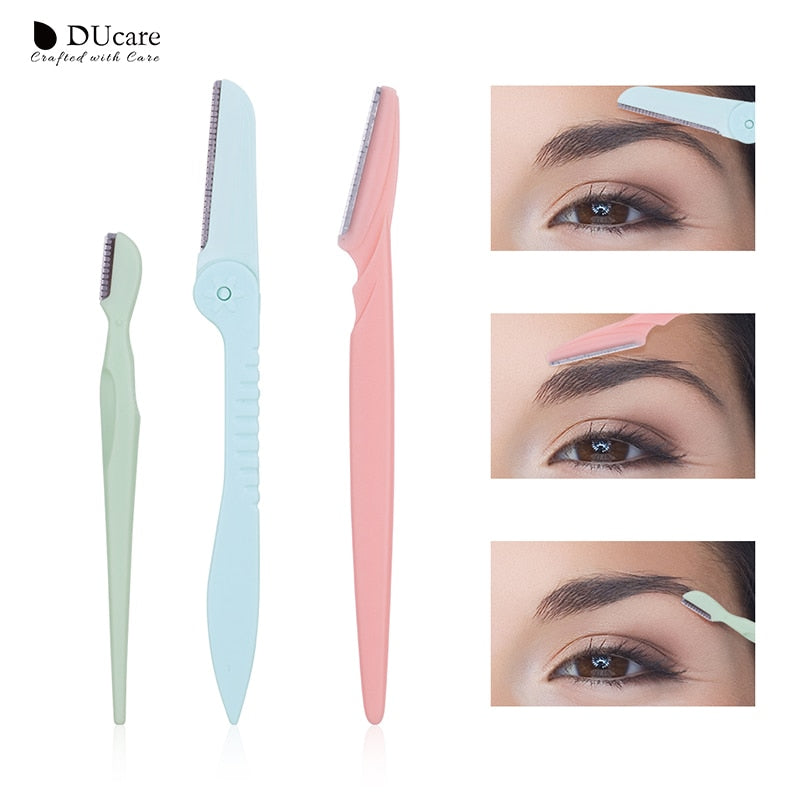 DUcare 3PCS Eyebrow Trimmer Face Razor Hair Remover Blades Shaver Eyebrow Comb Makeup Tools Kit Beauty Essential