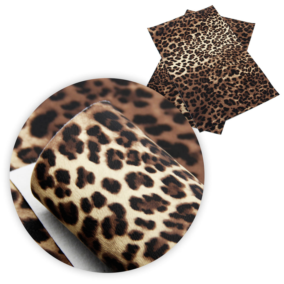 David accessories 20*34cm Leopard Faux Artificial Synthetic Leather Fabric For Sewing,DIY Garment Knotbow Bag Material,1Y57247