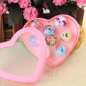 Display Box 8Pcs Cute Cartoon Kids  toy Ring Girls Rings event Birthday supplies Christmas Gift