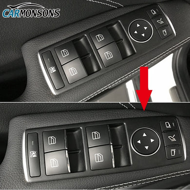 Door Lift Button ABS Chrome Trim Cover Stickers for Mercedes Benz C W204 E W212 GLK X204 GL ML X166 W166 Class Car Styling