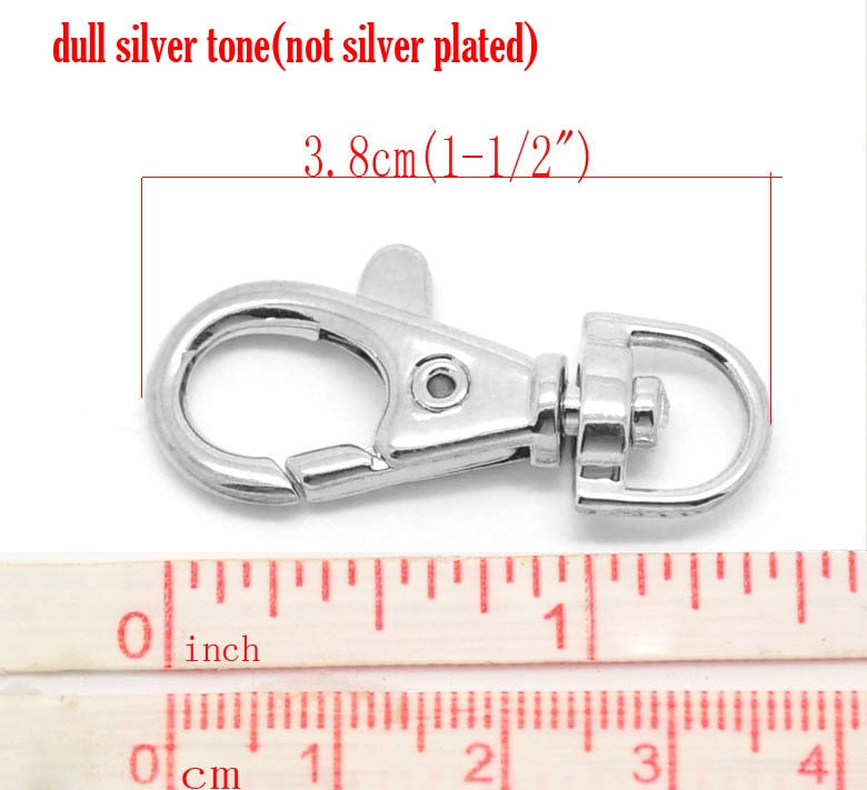 "Doreen Box Lovely Silver color Lobster Swivel Clasps For Key Ring 3.8x1.8cm(1-1/2""x3/4""), sold per packet of 20 (B18055)"