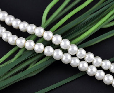 Doreen Box hot-  5 Strands White Round Glass Pearl 8mm Beads 32