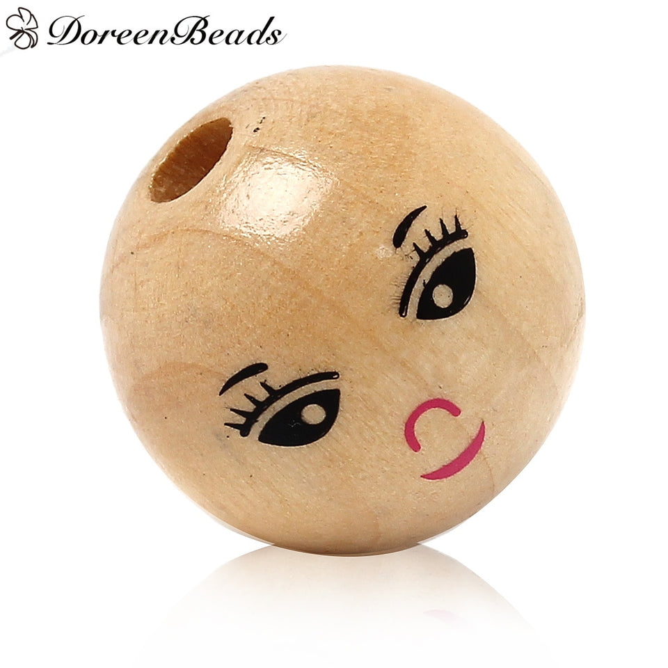 "DoreenBeads Wood Spacer Beads Ball Natural Smile Pattern About 22.0mm( 7/8"") Dia, Hole: Approx 5.0mm, 30 PCs"