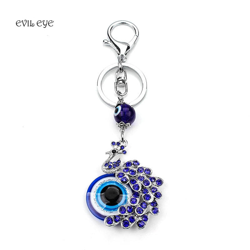 EVIL EYE Fashion Lucky Blue Crystal Peacock EVIL EYE KeyChain Best Wishes Gift Evil Eye For Woman Man jewelry Pendent