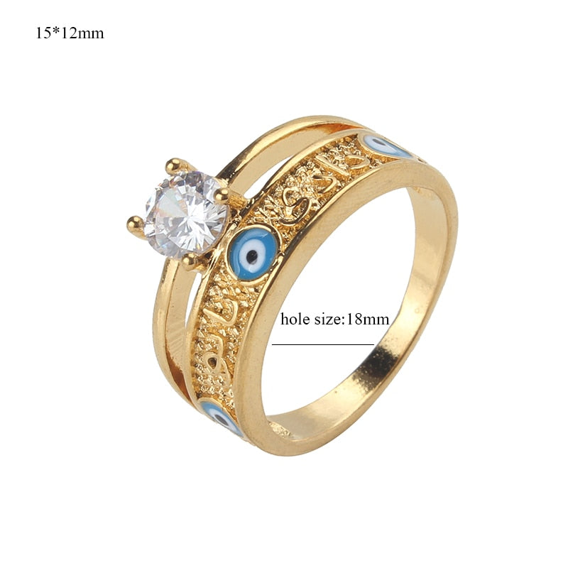 EVIL EYE new fashion gold Evil eye Rings with blue eye ring new jewelry Luxury adjustable ring CZ for women Ring jewelry gift