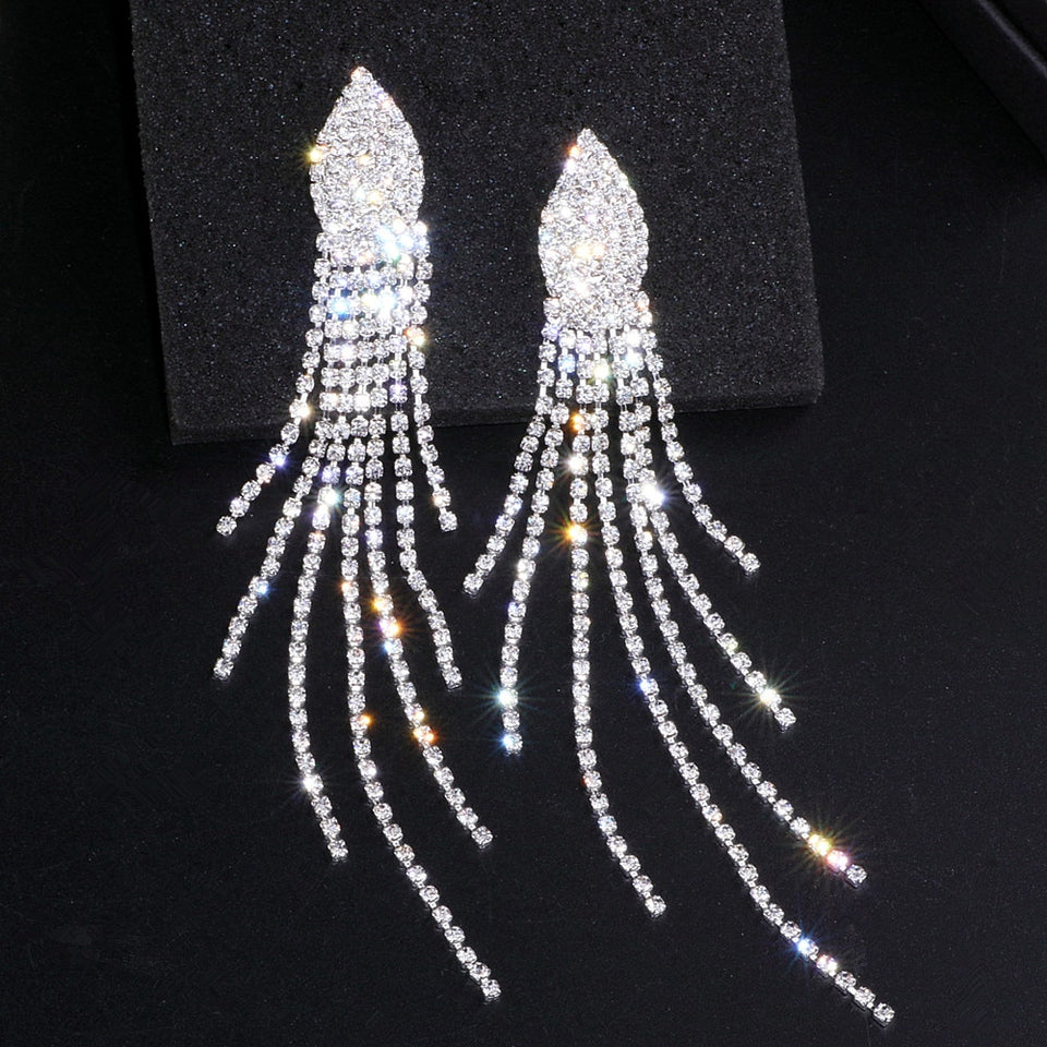 Elegant Crystal Long Tassels Earrings for Women Silver Color Bridal Brincos Wedding Drop Dangle Earrings Statement Jewelry WX033