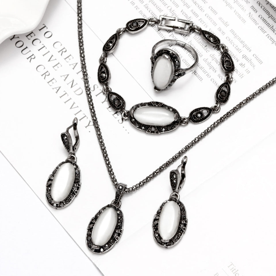 Elegant Vintage Opal Stone Jewelry Set Fashion Pendant Necklace Set Antique Silver 4Pc Jewelry Party Costume Jewelry Sets