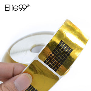 Elite99 100Pcs Nail Art Form Glod Nail Art Guide Form Tips Gel Extension Sticker Nails Gel Extension Sticker