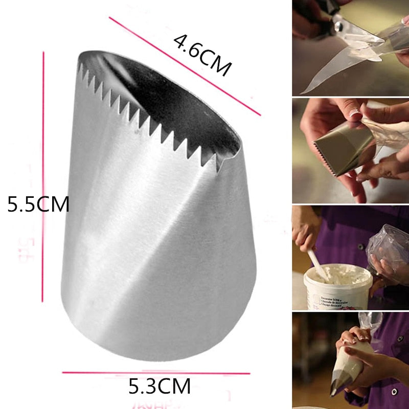 Extra Large Stainless Steel Nozzle Icing Piping Nozzles Cream Cake Decorating Pastry Tip Fondant Cake Tools Baking Accessoire