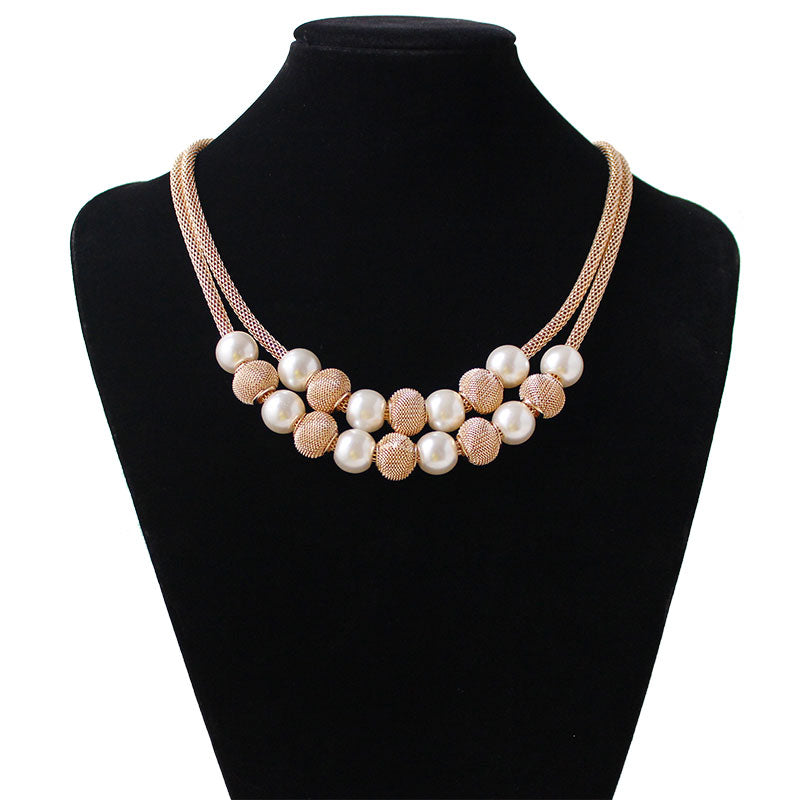 F&U Gold Color Chain with Endline European Popular Style Gold and Silver Color Ball Pendant Necklace for Women