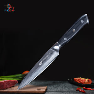 "FINDKING Brand G10 Handle  5"" damascus steel kitchen knife fruit knife utility knife"