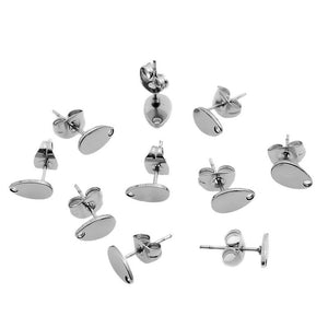FUNIQUE 2019 10PCs Stainless Steel Stud Earring Studs Water Drop W/ Stoppers