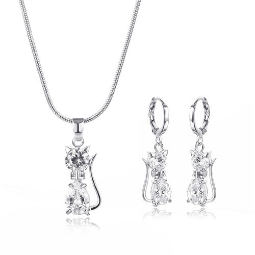 FYM High Quality White Color Cat Shape Necklace + Earrings Jewelry Sets Cubic Zirconia Bridal Jewelry Set For Women Party