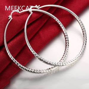 Fashion 925 stamped silver plated Round Fish Mating Big Hoop Earring Charm Large Women Circle Hoop Earring Jewelry aros de plata