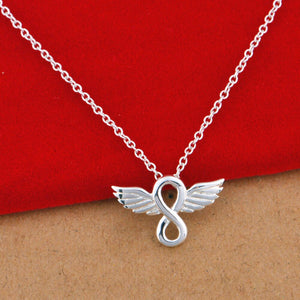 Fashion Silver Color Angel Wings Eternal Love Infinity Pendant Necklaces Chain For Women Girlfriend Forever Love Jewelry Gift
