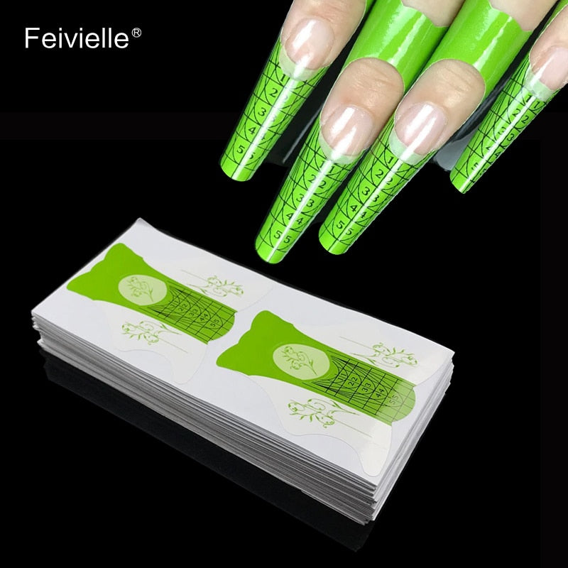 Feivielle 100 Pcs/Lot Nail Form For Acrylic UV Gel Tip Nails Extension Guide French DIY Tools Self-Adhesive Forms Stickers