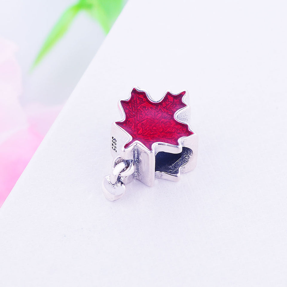 Fit Original Pandora Charm Bracelet 925 Sterling Silver Dazzling Maple Leaves Red Enamel Bead 2019 DIY Jewelry Gift Berloque