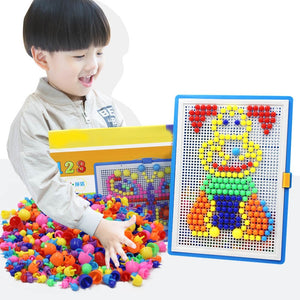 For Children 296pcs Mosaic Picture Puzzle Toy Children Composite Intellectual Educational Mushroom Nail Kit Toys with Box