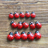 100Pcs Wooden Ladybird Ladybug Sticker Children Kids Painted Adhesive Back DIY Craft Home Party Holiday Decoration