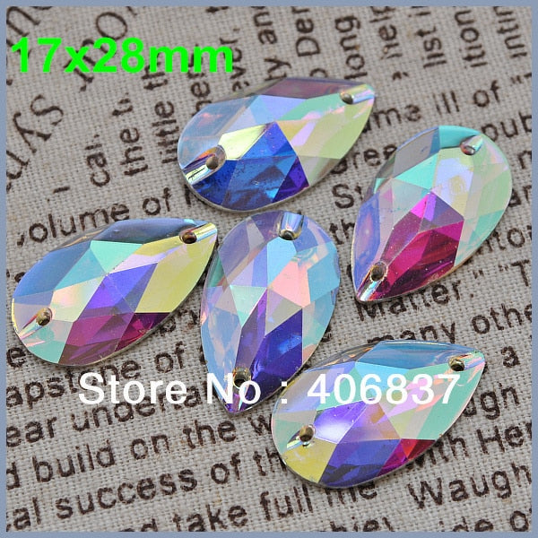 , 100pcs/Lot, 17*28mm Crystal AB sew on teardrop flat back resin sew on stones