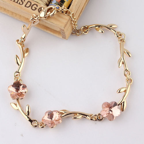 Fashion  Gold-color Pink Crystal Flower Charms Bracelets Bangles For Women Elegant Jewelry Gift
