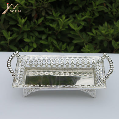 luxury silver plated metal tray, hollow metal plate