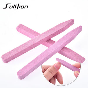 Fulljion Pink Unique Stone Nail File Buffer Sanding Block V-shaped Nail Grinding Cuticle Trimmer Remover Nail Art Manicure Tool