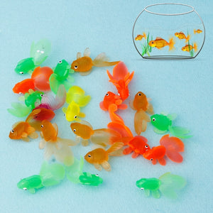 Funny 20pcs Rubber Simulation Small Goldfish Gold Fish Kids Toy Decoration Bath Toys funny