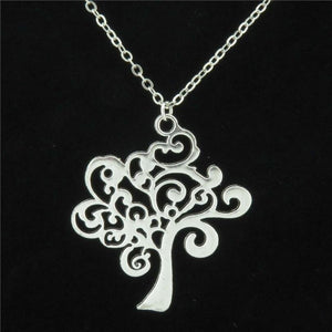 GLOWCAT Q11A30 Silver Alloy Girls Women Jewelry Flower Leaf Knot Tree of Life Pendant Short Chain Collar Necklace 18""