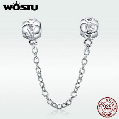 Genuine 925 Sterling Silver Love Connection Safety Chain Charm Fit Original Bracelet Pendant Authentic Jewelry C736