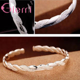 925 Sterling Silver Twining Scrub&Smooth Open Bangle Cuff Bracelet Fashion Female Silver Jewelry Bangle Women Girl Best Gifts