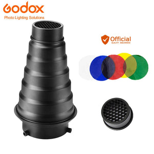 Godox SN-01 With Color Filter Conical Snoot Studio Flash Accessories Honeycomb Grid Light For Bowens Mount Studio Strobe Flash