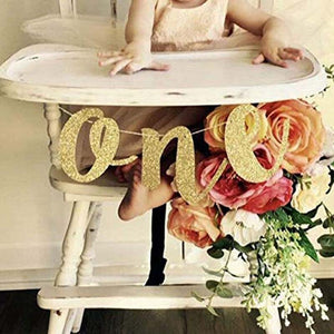 Gold Glitter ONE Banner for Prince Princess Baby boy girl 1st first Birthday Party High Chair Decoration Supplies photo prop