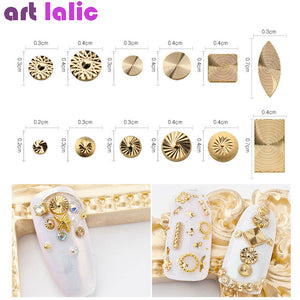 Gold Rivet Nail Studs 3D Nail Art Decoration Metal Circle  Spiral Round Square Triangle Mixed Accessories in Wheel for DIY