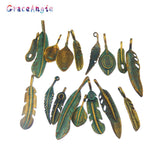 GraceAngie 14pcs Antique Bronze Charms Simulated Green Leaves Pendants Suspension Bracelets Necklace Accessory Mixed Shape