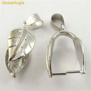 GraceAngie 8PCS Copper Made Shiny Silver Color Pinch Bail Leaf Shape Simplify Designed Handmade Jewelry Accessories 28*12*9mm